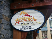 Avalanche Pizza Whistler Sign